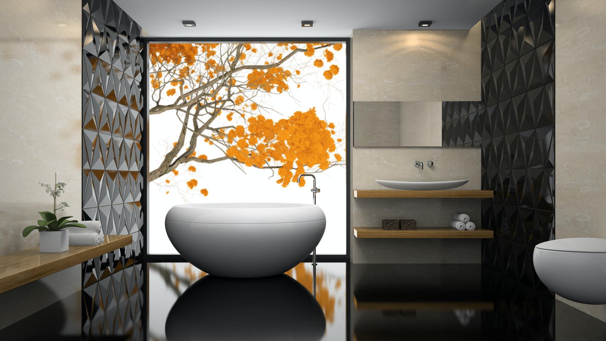 Interior del elegante cuarto de baño con render 3d de piso negro